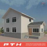 Edificio de lujo del chalet de la estructura de acero para el hogar vivo con el garage
