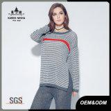 Maglione lavorato a maglia del pullover barrato inverno lungo di autunno del manicotto delle donne