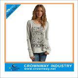 Lady's Fashion Knitted Crewneck Sweatshirt / Sweater with Thumbhole Design