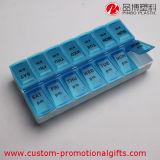 Пластмасса рядка перемещения портативная двойная Pillbox 7 дней