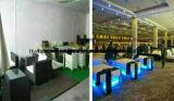 Кофейня мебели ротанга PE предводительствует вокруг стеклянной таблицы ротанга