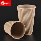 Taza de té caliente impresa aduana del papel de empapelar de la ondulación de Kraft