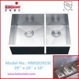 Undermountの60/40のハンドメイドの流しは、手作りする流し、ステンレス鋼の台所の流し(HMSD2919L)を