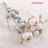 安い真珠およびエナメルの花のブローチAb12