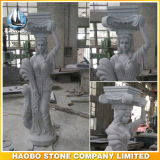 Colonna greca romana del granito romano delle colonne con le sculture