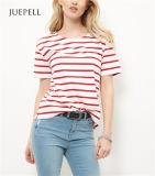 Weißes Rollenhülsen-Baumwollfrauen-T-Shirt