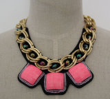 Lady Fashion Zircon Costume Chunky Collar Alloy Jewelry Necklace (JE0019)