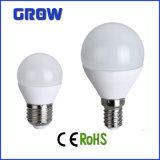 Luz de bulbo elevada do diodo emissor de luz do lúmen E14/E27 de G45 7W