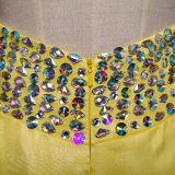 O baile de finalistas longo Chiffon dos Rhinestones amarelos veste-se (TM-MS024)