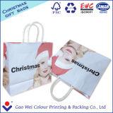 Sacchetto di acquisto bianco su ordinazione della carta kraft Con il sacchetto del regalo della stampa di marchio