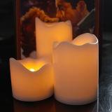 Nuevos vela ondulada determinada del plástico LED del estilo 3 con la luz ámbar