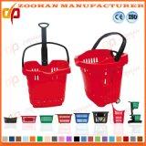 플라스틱 휴대용 슈퍼마켓 회전 쇼핑 바퀴 바구니 (Zhb81)