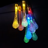 LEDの太陽庭ストリングは党のための屋外の妖精の多色刷りの水晶Waterdropsのテラスライトをつける