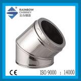 Doppelwand-Torsion-Verschluss-Edelstahl 45 Grad-Krümmer für Kamin