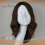 Europäische menschliche kastanienbraune Farbe volle Hand gebundene Remy Jungfrau-Haar-Haut-Oberseite-Frauen-Perücke