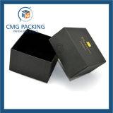 Boîte en carton noire de bijou de carton avec l'intérieur d'éponge (CMG-PJB-019)