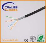Cable al aire libre doble de la red de la chaqueta Cat5e UTP