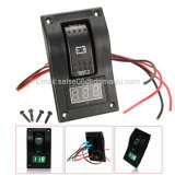 12-24V LED de doble batería de panel de prueba Rocker Switch coche de camiones Marine Boat Voltímetro 4p on-off-on