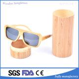 De met de hand gemaakte Ronde Doos van de Zonnebril van het Bamboe van de Cilinder Materiële