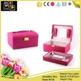 Caixa de jóia de couro feita sob encomenda encantadora cor-de-rosa (8159)