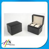 Par de Relojes de Caja de Embalaje de la Caja de Madera / Negro con Bisagras para Relojes