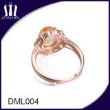 큰 노란 결정을%s 가진 로즈 금 925 순은 여자 결혼 반지