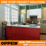 Oppein 미국 프로젝트 형식 빨간 PVC 나무로 되는 부엌 가구 (OP14-PVC07)