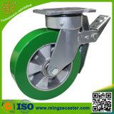Grüne Gummiband PU-Rad-Fußrolle für industrielle Fußrolle