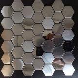 最も新しい六角形のステンレス鋼の金属のモザイクは飾る台所(FYMF8023)を