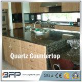 Alta qualidade do quartzo, pedra artificial, pedra Nano, quartzo branco, lajes de quartzo para a bancada da cozinha com tratamento Bullnose da borda