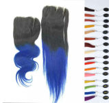 7A Virgin Hair Ombre Color Lace Closure Double Drawn 2tones Red
