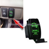 ユニバーサルCarling Rocker Style Dual USB Power Socket Charger 12V 24VレーザーEtched Blue LED Wiring SUV