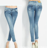 Elegante New Fashion Ladies Refreshing Long Lace Hem Denim Jeans