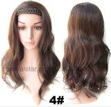 Moitié en plastique synthétique de cercle de cheveu de température élevée perruques principales