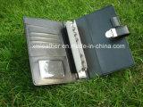 Кожаный скоросшиватель повестки дня дела с владельца карточки, петля пер