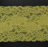 Tela do laço do estiramento do amarelo de China para Embellishing/acessórios do vestuário