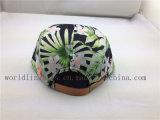 Chapéu verde-oliva floral feito sob encomenda do painel do teste padrão 5 com Tag de couro