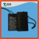 Linea base Hangtag del nero dell'indumento con stringa