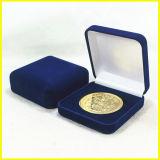 Коробка монетки сувенира Brown квадратная кожаный