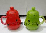 vaso di vetro del punto dell'onda verde 300ml per la bevanda con il coperchio di vetro