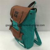 La moda de Nueva Diseñado cuero verdadera mochila de lona (GB # 20080)