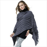 Dame Fashion Acrylic Knitted Fringed Schal-Poncho (YKY4156)