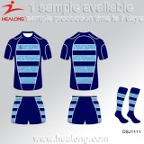 La coupure de sport de Healong et cousent la chemise sublimée de rugby d'impression