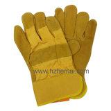 Gant fendu de travail d'exploitation de sûreté de gants en cuir de gants de peau de vache