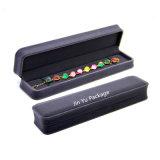 Rectángulo de empaquetado del terciopelo del regalo azul profundo de la joyería con insignia de encargo