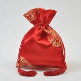 Saco de cordão de cetim Jacquard com fita Tassel personalizado