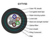 24/48/72/96/144/216/288 Câble de fibre optique blindé tubulaire à boudin (GYTY53)