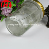 Bottiglia di vetro del condimento dell'insalata del vaso 200ml dell'ostruzione rotonda con il coperchio del metallo