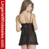 De sexy Lingerie van de Nachtkleding van Underwire Babydoll van de Koppen van het Kant Open Halve Vastgestelde