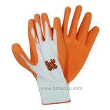 泡乳液の塗られた園芸手袋作業手袋中国